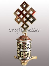 Table prayer wheel brass top loop