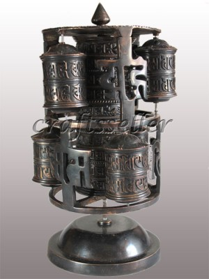 Mandala 6in1 table prayer wheel dark colour.
