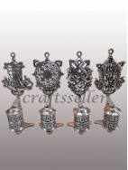 Top astamangala Prayer wheel silver plated