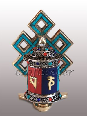 Table prayer wheel with stone setting back loop