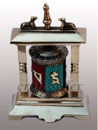 2 pillar table prayer wheel stone setting
