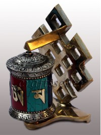 Table prayer wheel back loop stone setting