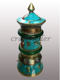 Table Prayer Wheel with stone setting and chura