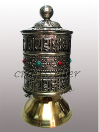 Table Prayer wheel white metal