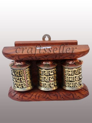 Wall Prayer Wheel fine frame (3x1) small