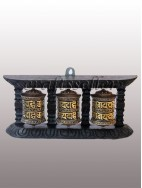 Wall Prayer Wheel black frame (3x1) 2 line small