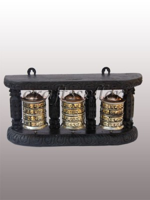 Wall Prayer Wheel black frame (3x1) 4 line small